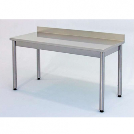 Gambe In Acciaio Inox Per Tavoli.Tavolo Da Lavoro Su Gambe In Acciaio Inox Con Alzatina Posteriore Profondita 90 Cm