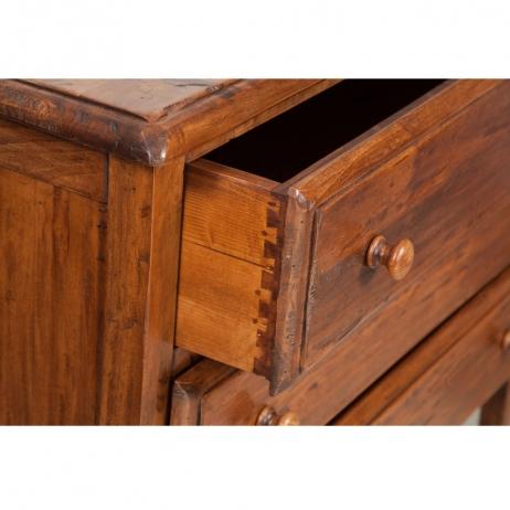 Comò Country in legno massello di tiglio 3 cassetti 100x48x85 cm