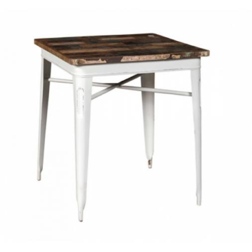 Arredo Shabby Tavolo industrial ferro e legno Cook bianco 70 cod. 8851