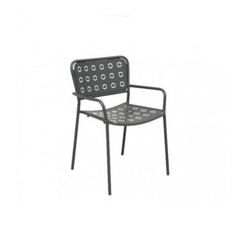 Rd italia sedia impilabile pop 2 con braccioli in acciaio for Arredi esterni per bar e ristoranti