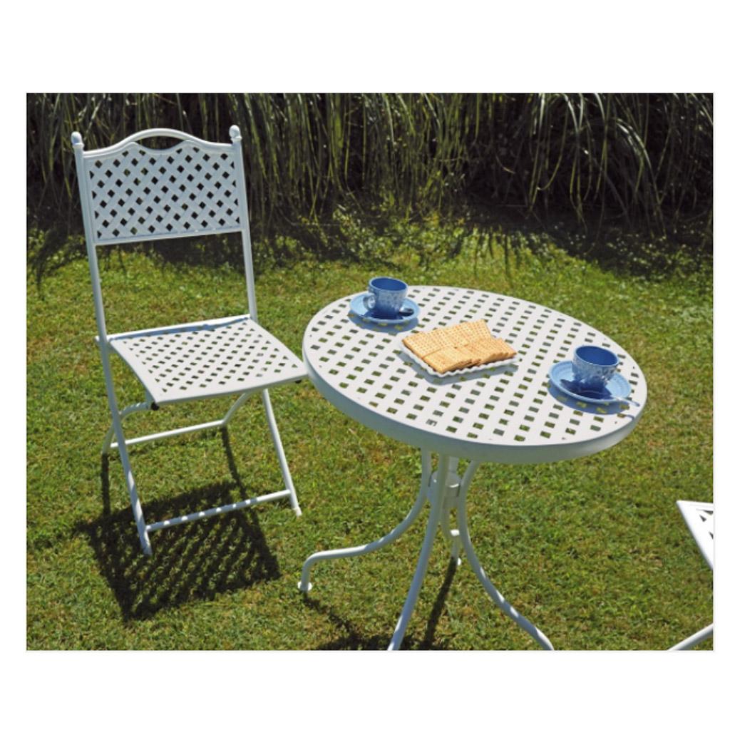Greenwood set bistr in ferro bianco con 2 sedie for Tavolo e sedie pieghevoli