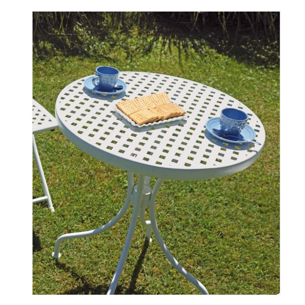 Greenwood set bistr in ferro bianco con 2 sedie pieghevoli e 1 tavolo pieghevole diam 60 cod 7755 - Tavolo pieghevole con sedie ...