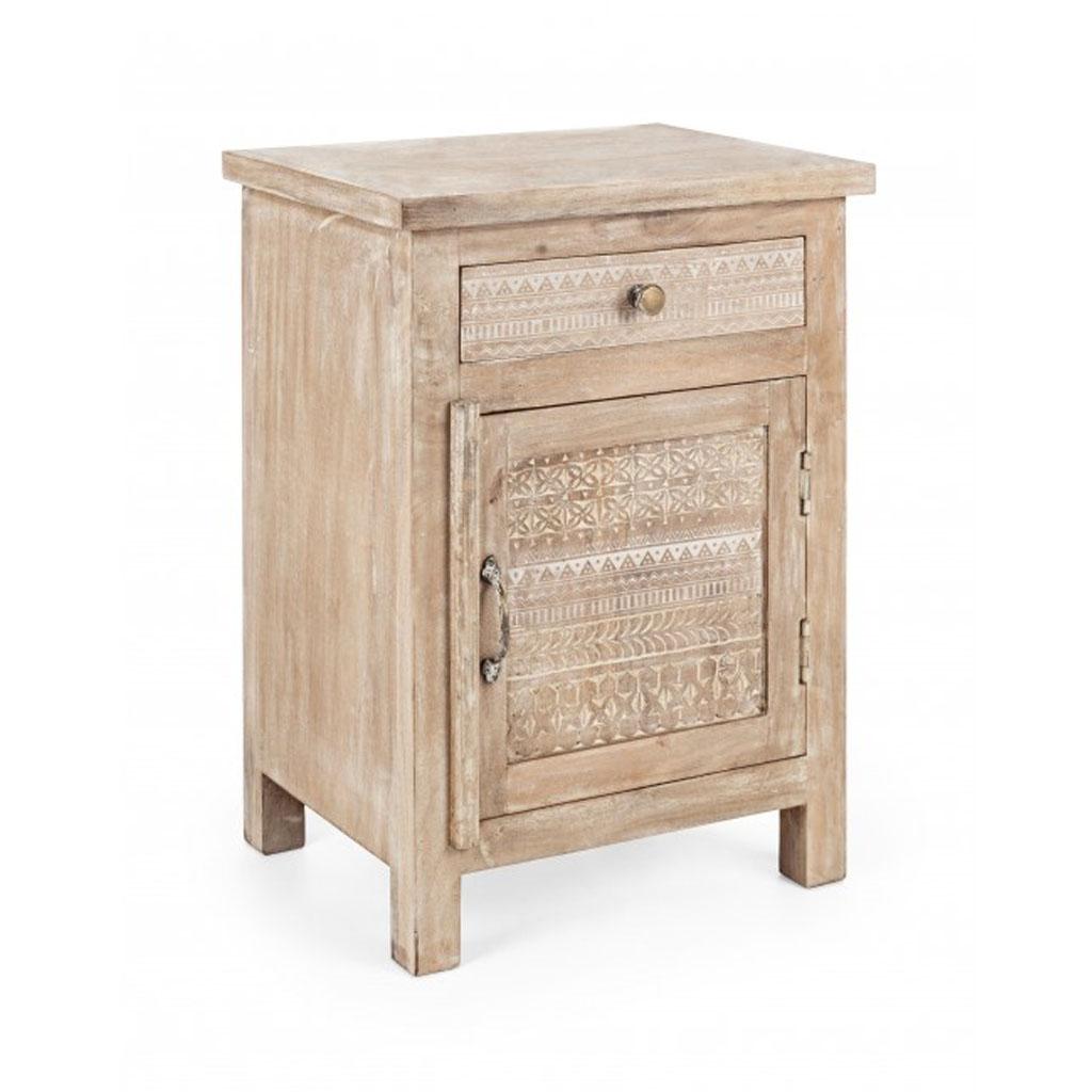 Bizzotto comodino mayra in legno di mango con decori - Decori in legno per mobili ...