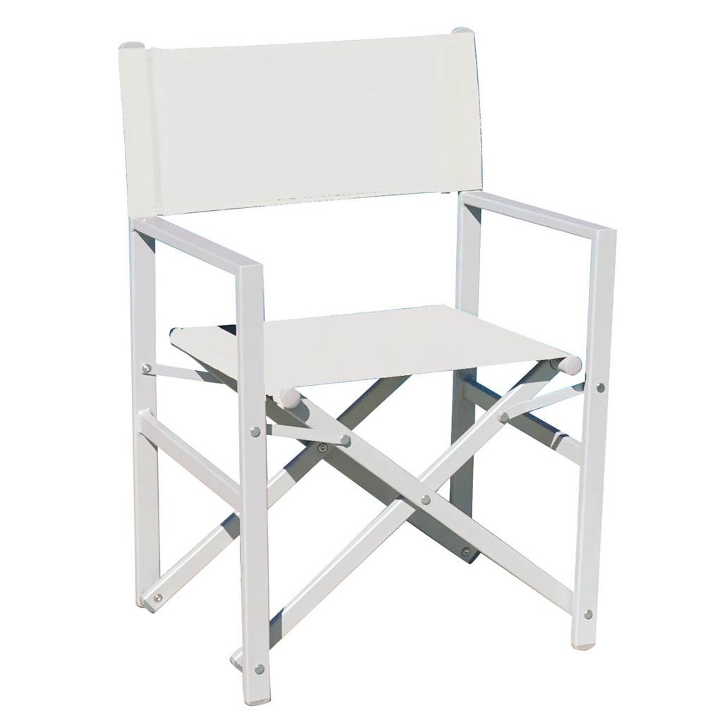 GreenWood Sedia Regista pieghevole in alluminio bianco ...