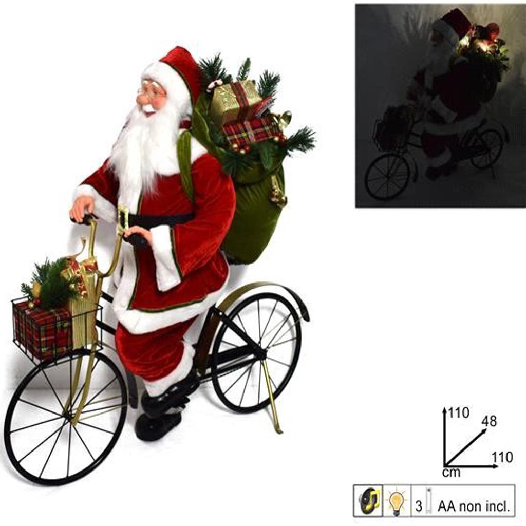 Babbo Natale In Bicicletta.Emporio Grassi Babbo Natale Su Bicicletta Con Luci E Suoni 110cm Cod