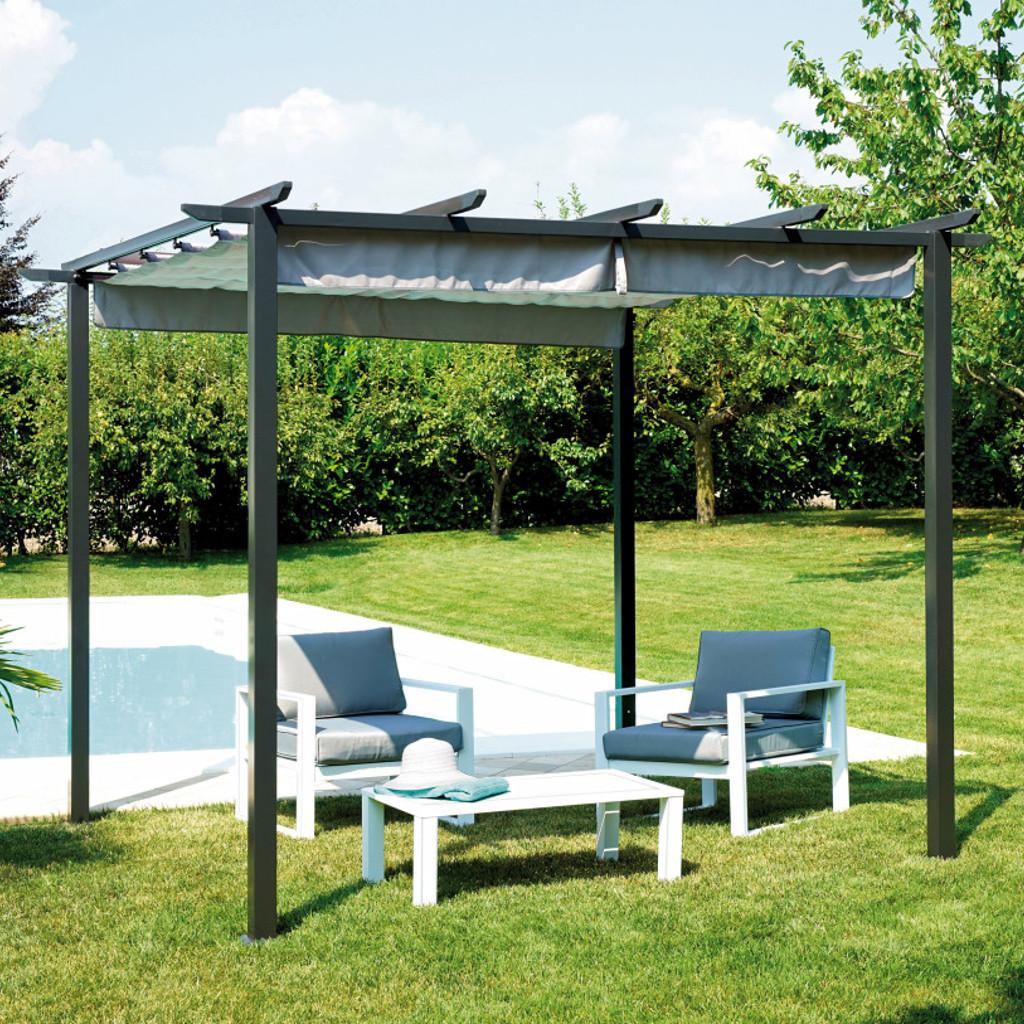 Greenwood pergola con tetto scorrevole 3x3 cod 4096 - Pergola giardino ...