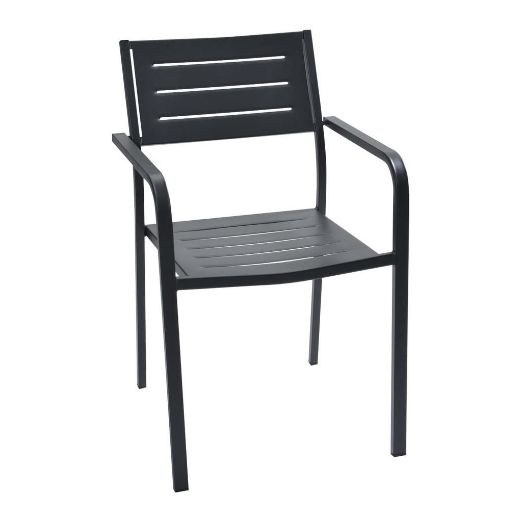 Rd italia sedia impilabile dorio2 con braccioli in acciaio for Arredi esterni per bar e ristoranti