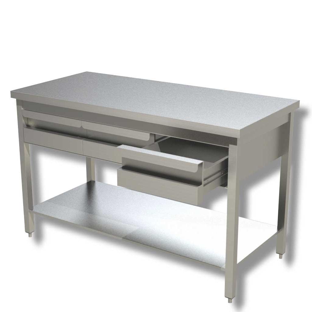 RistoPro Tavolo da lavoro in acciaio con ripiano e cassetti cod. 5121